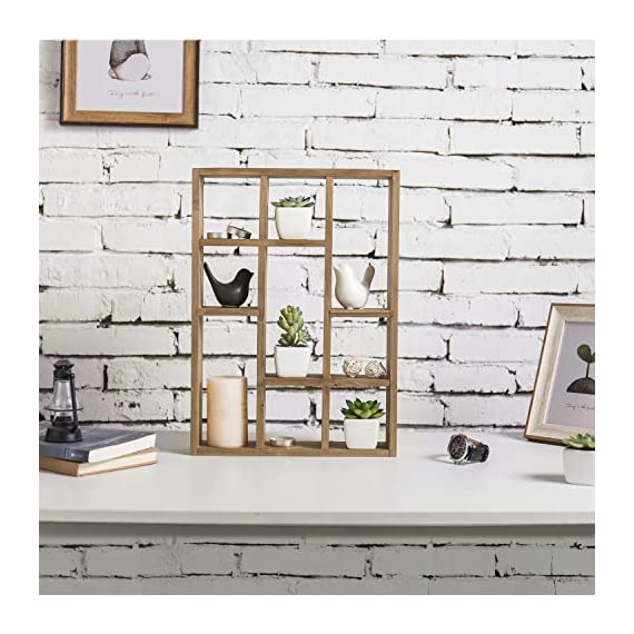 MyGift 15-Inch Wall-Mounted (Vertical or Horizontal) 9-Slot Rustic Wood Floating Shelves/Freestanding Shadow Box, Brown - A freestanding or wall-mounted shelf rack made of sturdy wood with a natural-style finish. Boasts 9 compartments in various shapes and sizes to allow for versatile display options and eye-catching style. Can be set on any counter top or attached to any wall either vertically or horizontally using the appropriate mounting hardware (not included). - wall-shelves, living-room-furniture, living-room - 51hXuqMhflL. SS570  -