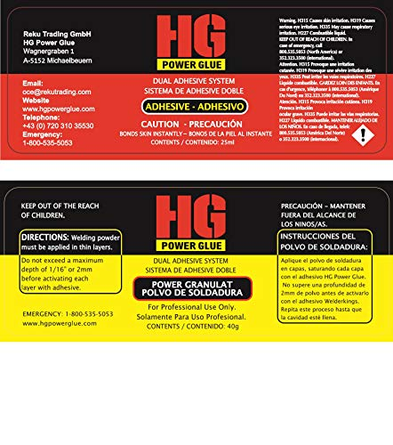 Strongest Super Glue by HG Power Glue - Clear Industrial Strength Glue with Powder for Nearly All Kind of Plastic, PVC, Wood, Metal and Many More, ...