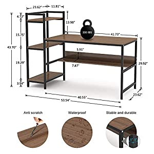 "Dripex Computer Desk with 4 Tier Storage Shelves – 41.7"" Student Study Table with Bookshelf Modern Wood Desk with Steel Frame for Small Spaces Home Office Workstation (Walnut)"