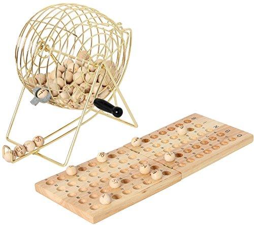 Bingo-Spiel mit Metallkorb + Holzbrett 90 Kugeln / System 15 aus 90