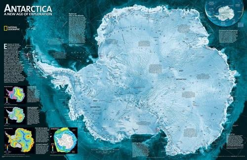 National Geographic: Antarctica Satellite Wall Map (31.25 x 20.25 inches) (National Geographic Reference Map) by National Geographic