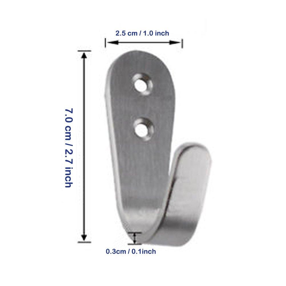 Deezio Extra Strong Stainless Steel Screw Single Hooks, Coat Hooks, Hat Hooks, Wall Hooks, Bath Towel Hook, Kitchen Hooks, Heavy Duty Wall Mount Hooks (Pack of 10)