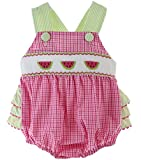 Baby Girls Pink Gingham Summer Sunsuit Bubble Outfit Watermelon Smocking 12M