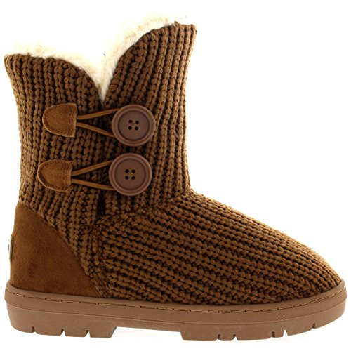 Womens Twin Button Waterproof Winter Snow Boots Tan Knitted RgxrNR