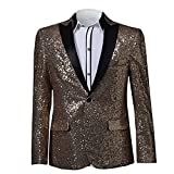 MAGE MALE Mens Shiny Sequins Suit Jacket Blazer One Button Tuxedo for Party,Wedding,Banquet,Prom