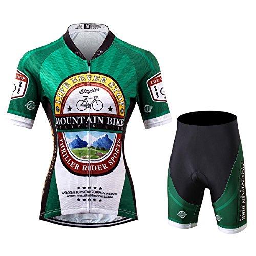 [해외] Thriller Rider Sports 싸이클 저지 레이디스 여성 자전거 운동 복장 반소매 Mountain Bike Club 4 Colors