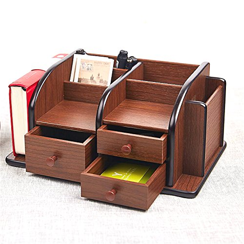 Siveit Wooden Desk Organizer, Wood Desktop Organizer with 3 Drawers 2 Shelves and 3 Compartments Office Supplies Holder Desk Accessories (Desk Organizer-3+3+2) by Siveit (Image #4)