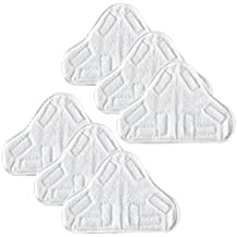 ANBOO Microfibre Steam Mop Floor Washable Replacement Pads for Steamboy H20 X 5 Steam Duster Washable Cleaning Pads Vacuum Cleaner Attachment White 6 pcs