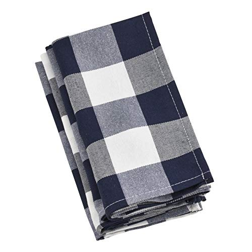 SARO LIFESTYLE Cotton Blend Buffalo Plaid Table Napkins (Set of 4) 20