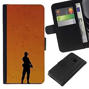 Protector de cuero de la PU de la cubierta del estilo de la carpeta del tirón BY RAYDREAMMM - HTC One M9 - Puesta de sol Soldado