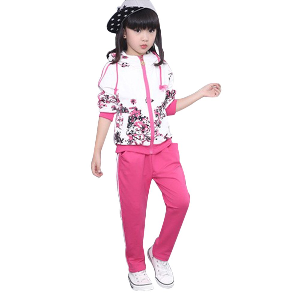 Kids Girls Boys Tracksuit Floral Print Zip Hooded Jacket Top + Jogger Trousers Clothes Set Outfits Sport Suit