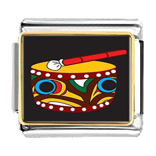 Drum Italian Charm (GiftJewelryShop Gold Plated Native American Drum Bracelet Link Photo Italian Charm)