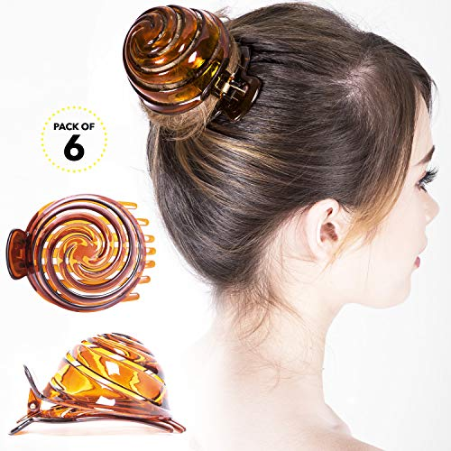 - RC ROCHE ORNAMENT Womens Spiral Dome Bun Maker Cover Round Clam Shell Stylish Spiral No Slip Grip Side Slide Beauty Accessory Hair Claw Clamp Clip, 6 Pack Count Large Brown