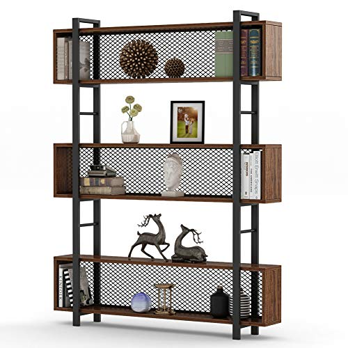 Tribesigns 5-Shelf Bookshelf with Metal Wire, Vintage Industrial Bookcase Display Shelf Storage Organizer with Metal Frame for Home Office, 47.2'' L x 9.4'' D x 71'' H (Retro Brown) by Tribesigns (Image #1)