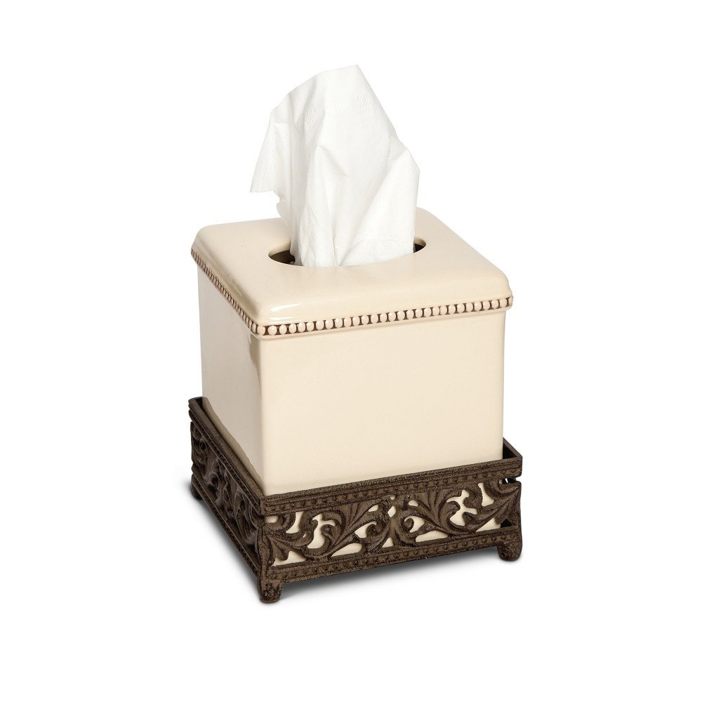 Gracious Goods GG Collection Ceramic Square Tissue Box - Cream by Gracious Goods (Image #1)