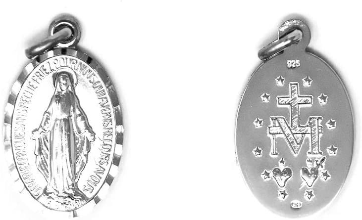 Catholic Gift Shop Ltd 925 Sterling Silver Miraculous Medal with the Traditional M Surmounted by the Cross and the Immaculate Sacred Hearts Plus Lourdes Prayer Card