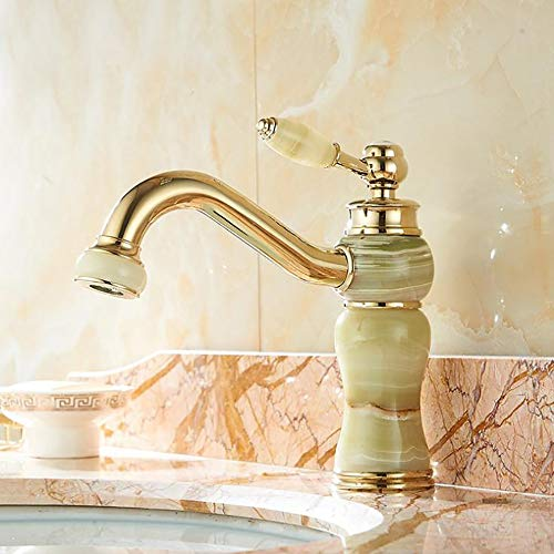 WANGPIPI Modern Tap European Style Gold Bronze Jade Faucet Counter Basin Antique Hot and Cold Gold Plating Marble Premium Quality Single Lever Not Splashing