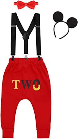 Baby Boys 1st/2nd Birthday Cake Smash Outfits Y Back Suspenders Bowtie Photo Prop Costume Long Pants Mouse Ear Headband 6-24M