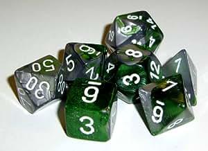 Polyhedral Dice: Gemini 4 Green-Steel w/ White