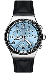 Swatch Men's Irony YVS421 Silver Leather Quartz Watch