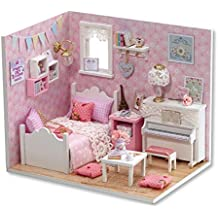 Sacow Dollhouse, 3D Handmade Miniature Princess Dollhouse DIY Wooden Mini House with Furniture Kit Light Kids Girls Gift