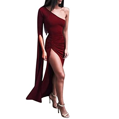 HLHN Women Long Dress,Sexy One Shoulder Long Sleeve Split Elegant Bodycon Cocktail Prom Gown