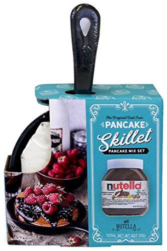 Mini Nutella Pancake Skillet | Individual-Sized Cast Iron Skillet with Pancake Mix and Nutella