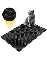 Zellar Alfombrilla para gatos portátil (grande)-Materias de alimentación de gato de doble cara, atrapa-literas + a prueba de agua + plegables + goma de espuma de EVA suave no tóxica (azul / negro)