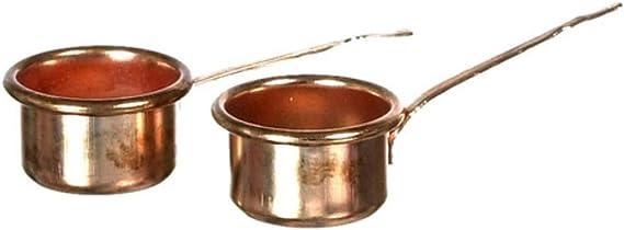 Dollhouse Miniature Set of 3 Copper Sauce Pots