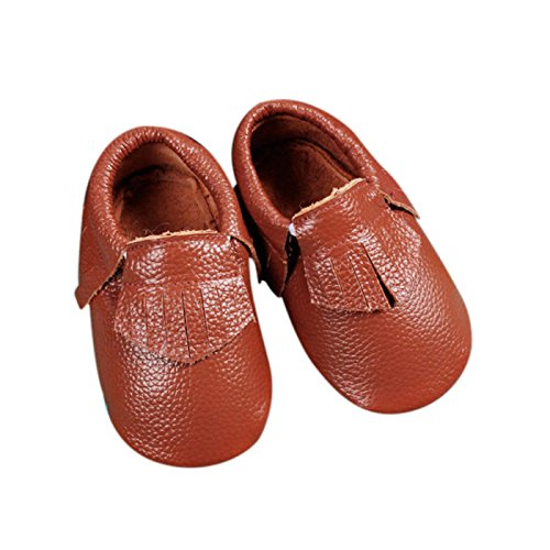 Unique Baby Leather Baby Moccasins Anti-Slip Shoes XXS (4.3 inches) Walnut Brown