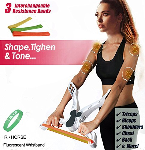 R HORSE Arm Workout Machine Tones Strengthens Arms Biceps Shoulders Chest As Seen As On TV with 3 Resistance Exercise Bands