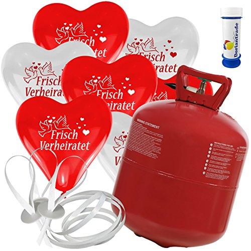 100 Herz Luftballons mit Helium Ballon Gas Motiv Frisch Verheiratet Hochzeit Valentinstag Komplettset + Gratis Doriantrade Seifenblasen (Rot/Weiß)