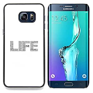 - life text glitter grey white sparkle - - Modelo de la piel protectora de la cubierta del caso FOR Samsung Galaxy S6 Edge Plus RetroCandy