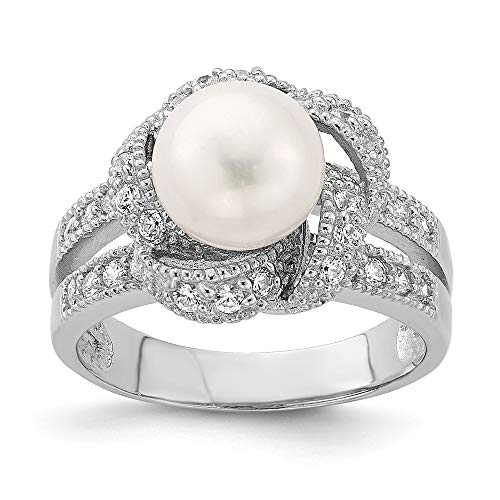 (925 Sterling Silver Simulated Pearl Cubic Zirconia Cz Band Ring Size 7.00 Fine Jewelry Gifts For Women For Her)