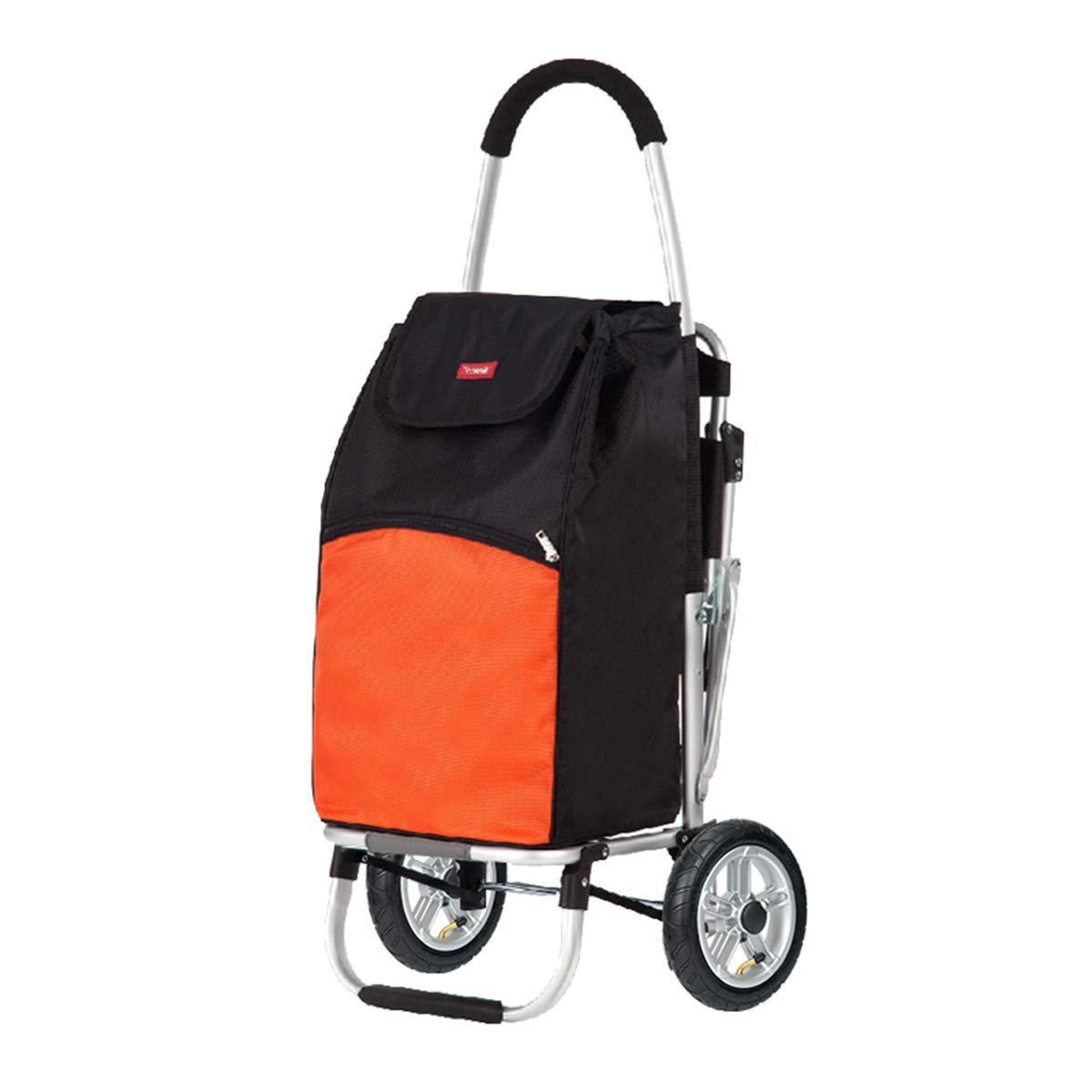 HSBAIS 座席付きショッピングカート、軽量 ショッピング用台車 防水 トロリー 49L容量/座席サポート75KG高齢者向け,Orange B07T8Y3GXN Orange