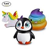 Zooca Slow Rising Squishies - Kawaii Unicorn Squishies + Rainbow Poop Emoji Squishies + Penguin Large Squishies Keychain Stress Relief Jumbo Squishy Toys, For Kids And Adults [Pack of 3]