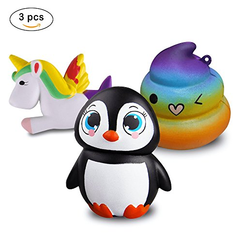 Zooca Slow Rising Squishies - Kawaii Unicorn Squishies + Rainbow Poop Emoji Squishies + Penguin Large Squishies Keychain Stress Relief Jumbo Squishy Toys, For Kids And Adults [Pack of 3] by Zooca
