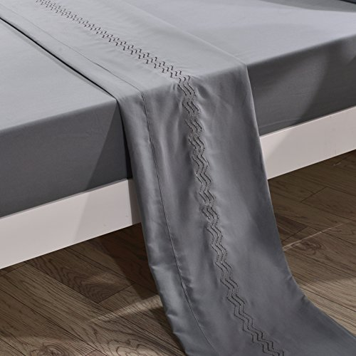 Queen Size Grey Flat Sheet Sold Separately 110 GSM Double Brushed Microfiber Gray Top Sheet Single Embroidered Thick Bed Sheet Only - Hypoallergenic, Wrinkle, Fade, Stain Resistant (Gray, Queen)