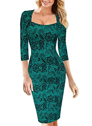 VfEmage Womens Sexy Elegant Vintage Floral Flower Print Bodycon Pencil Dress 2019 Green 14 by VfEmage