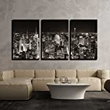 wall26 - 3 Piece Canvas Wall Art - New York City Midtown Skyline Panorama with Skyscrapers and Urban Cityscape at Night. - Modern Home Decor Stretched and Framed Ready to Hang - 24''x36''x3 Panels