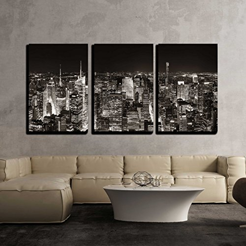 wall26 - 3 Piece Canvas Wall Art - New York City Midtown Skyline Panorama with Skyscrapers and Urban Cityscape at Night. - Modern Home Decor Stretched and Framed Ready to Hang - 24''x36''x3 Panels by wall26
