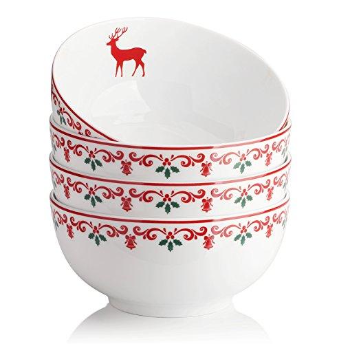 DOWAN 22oz Christmas Porcelain Soup/Cereal Bowls - 4 Packs, White (Bowl Christmas)
