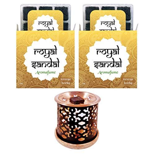 (Aromafume Royal Sandal Incense Bricks + Exotic Incense Burner | Pack of 18 (9x2) | Home/Room Fragrance | Gifts (Sandalwood Set))