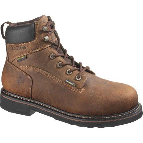 WOLVERINE WORLDWIDE - Brek Waterproof Boots, Extra Wide, Brown Leather, Men's Size 8