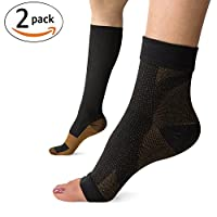KroO Recovery & Prevention Copper Ankle Sleeve Support + Knee High Compression Socks for Men, Women, Nurses, Travel, Running, CrossFit, Pregnancy