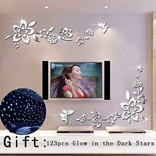 Modern Creative Diagonal Flower Vine Butterfly Acrylic Mirror Surface Wall Sticker Home Decoration Decorative Mirror Wall Art for Living Room TV Background Bedroom Decor Decals (Silver) (For Mirrors Decoration)