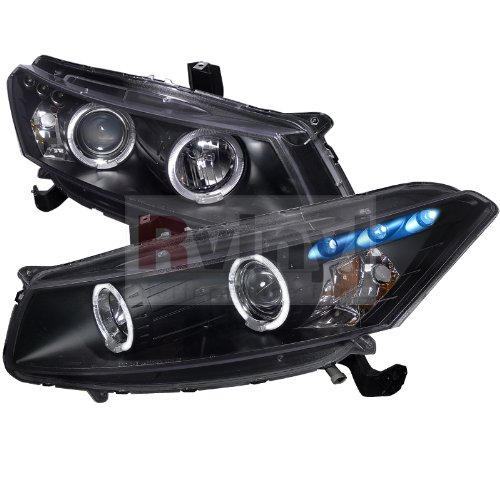 (Spec-D Tuning 2LHP-ACD082JM-TM Honda Accord Dual Halo Led Black 2Dr Coupe Projector Headlights)