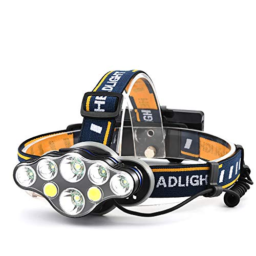 LED Headlamp, Super Bright Headlamp Headlight Flashlight, 4 Modes COB Dual Operation Mode 8 LED for Running, Hiking, Camping, Fishing, Hunting (without battery)
