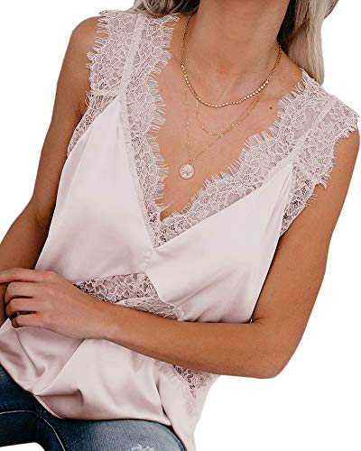 Saikesigirl Lace Silk Camisoles for Women Sexy V Neck Tops Loose Spaghetti Strap Cami Tank Shirt Pink