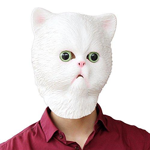 PartyCostume - White Persiant Cat Mask - Halloween Latex Animal Head -